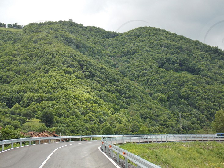 tree covered hills next to a road photo