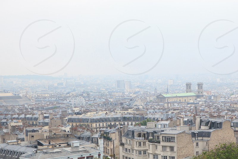 Roofs in residential quarter of Montmartre in Paris photo