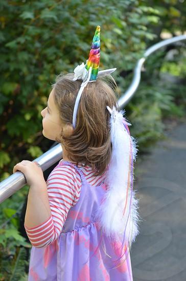 Unicorn child Halloween dress up whimsy pretend photo