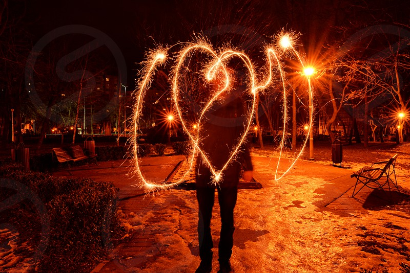 Writing in air with a firework photo
