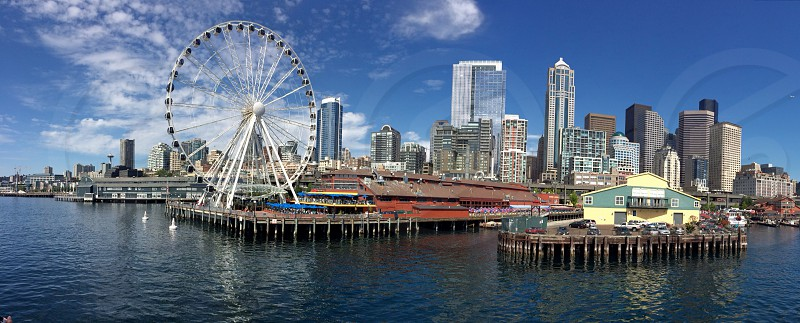 Panoramic of downtown Seattle view from the water.  photo