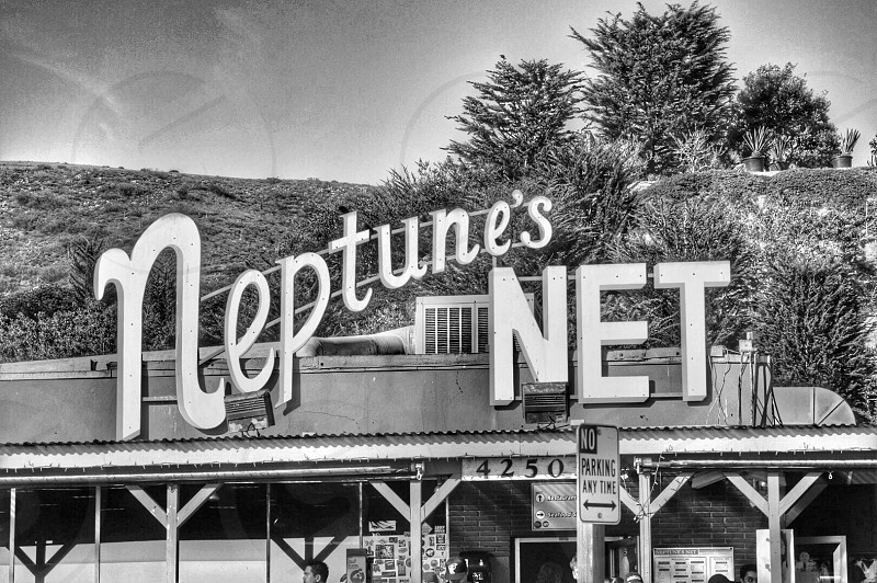 A black and white edit of the hot iconic spot in Malibu CA Neptune's Net. photo