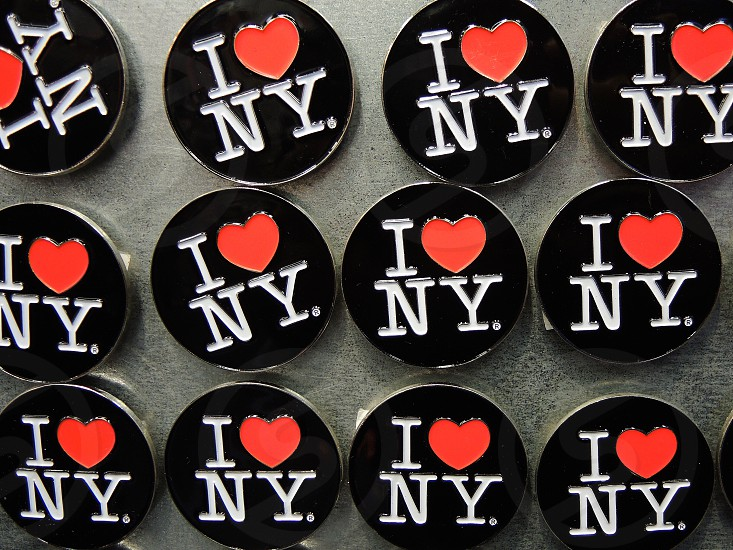 black red white i <3 ny button pins photo