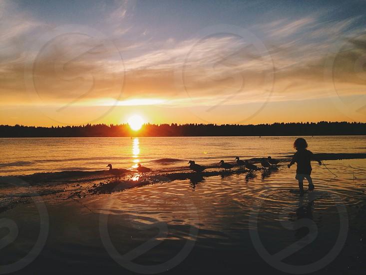 Lake Washington sunset toddler Washington state photo