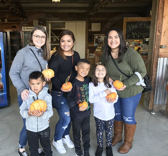 Picking pumpkins with the kids photo