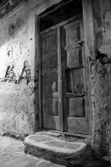 door wooden stair brick photo