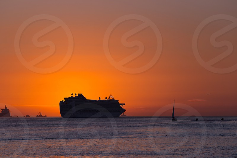 ship sunset cruise in Lisbon Portugal photo