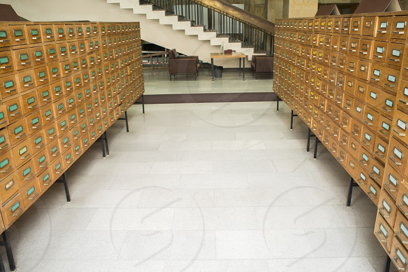 Old archive with wooden drawers photo
