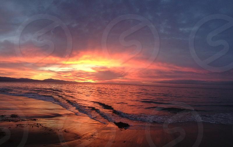 Morning Sunrise off the coast of Santa Barbara photo