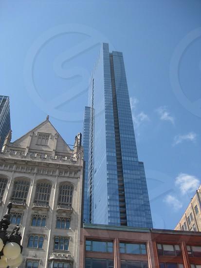 Chicago skyline tall modern building vs old photo