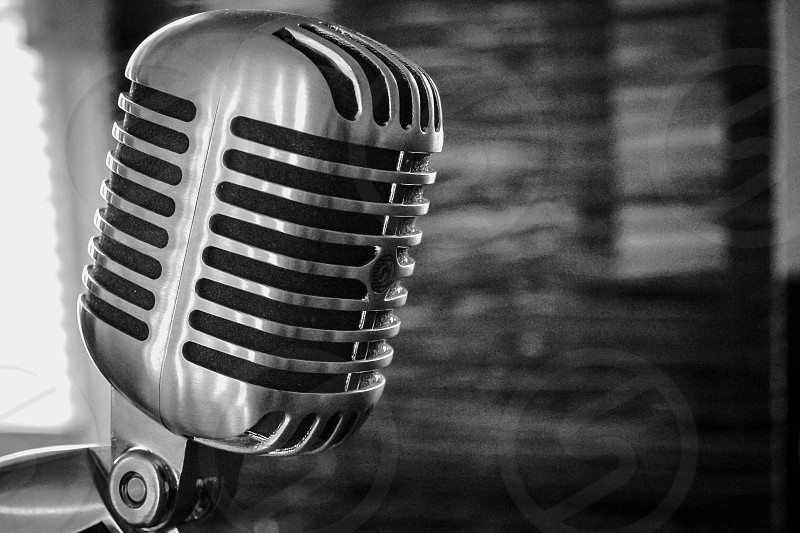 grayscale photo of vintage standard microphone photo