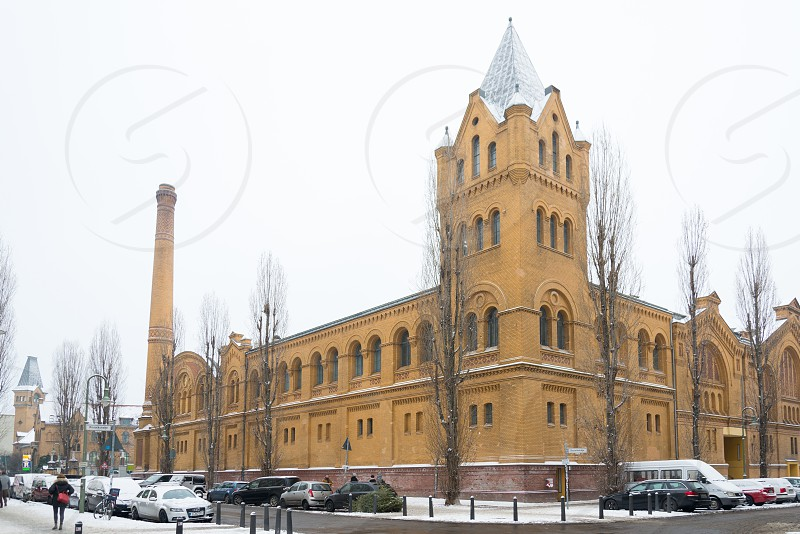 Group of historical building calls Palais in der Kulturbrauerei inside Prenzlauer Berg Neighborhood in Berlin Germany photo