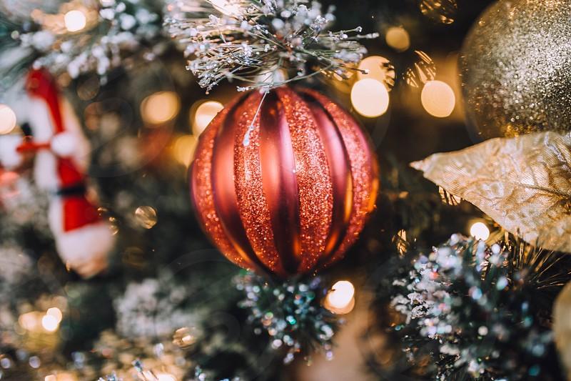 Christmas Christmas ornaments Christmas tree gold glitter sparkle Christmas lights bokeh  photo
