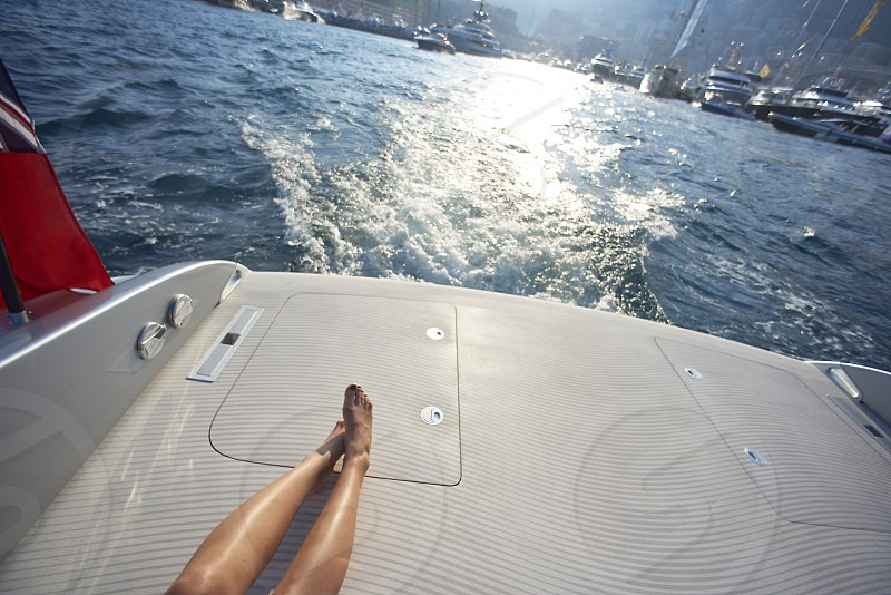 Luxury yachts ans speedboats shot in Monaco during summer photo