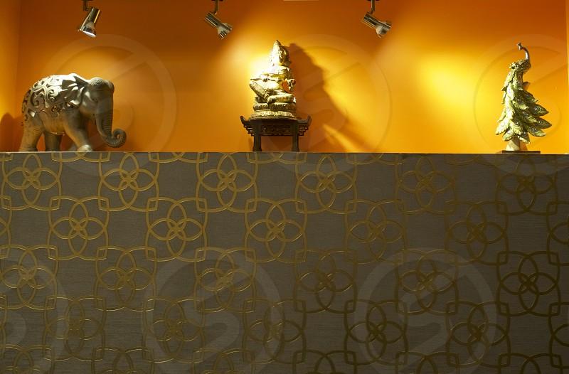 Orange color pop asian design wall feature        photo