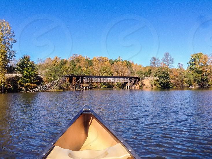 Train Bridge over Lake  photo