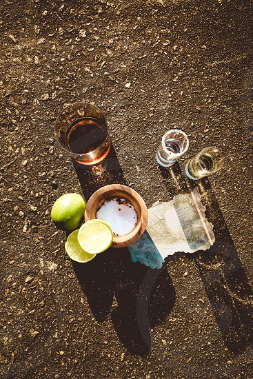tequila shots on ground photo