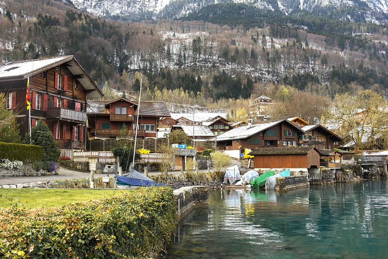 ISELTWALD SWITZERLAND - April 06 2019: Views of Iseltwald and Brienzersee in the canton of Bern in Switzerland  photo