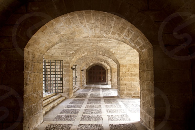 almudaina and Majorca Cathedral tunnel arches in Palma de Mallorca photo