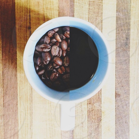 Hard soft coffee beans morning fifty/fifty 50/50 before after drink hot  photo