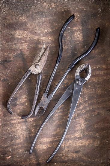 Bonsai tools instruments garden crafts craftsmanship wood scissors shears pruners  photo
