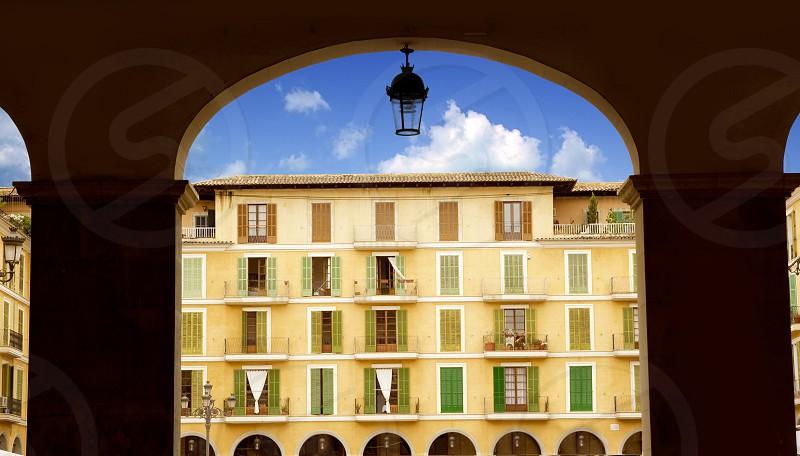Majorca Plaza Mayor Major in Palma de Mallorca at old city downtown photo
