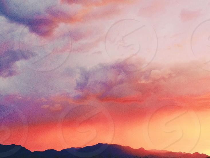 mountain monsoon clouds sunset desert vibrant pink orange west adventure explore nature Arizona road trip Sky summer photo