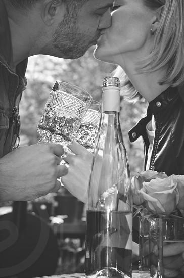 New Year's Eve kiss toast celebration wine photo