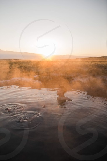 hot springs sunrise sunset adventure travel mammoth relax friends road trip mountains steam fog cool location landscape photo