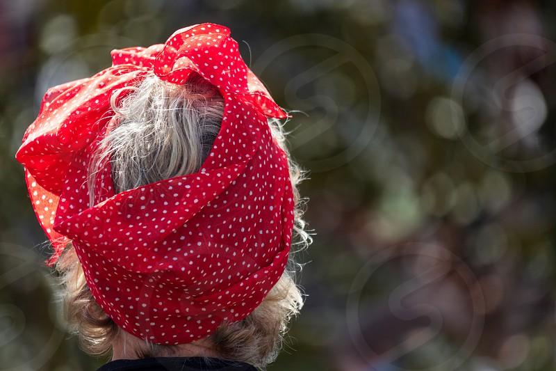 Lady Wearing a Polkadot Silk Scarf photo