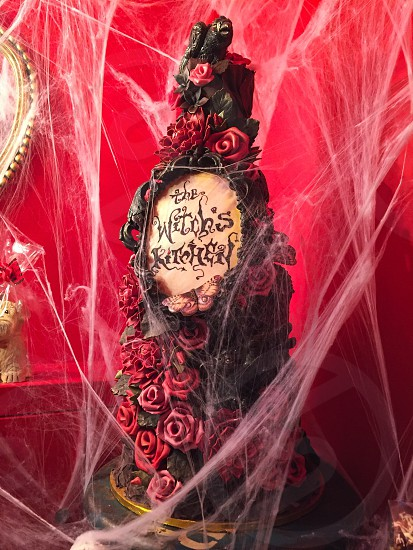 Indoor day vertical portrait colour red reds Brighton East Sussex UK United Kingdom England Choccywoccydoodah shop chocolatier cake wedding Halloween cake goth gothic skull roses cobwebs witch witch's kitchen  photo