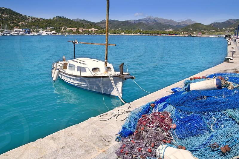 Andratx port marina with llaut boat in Mallorca balearic islands photo