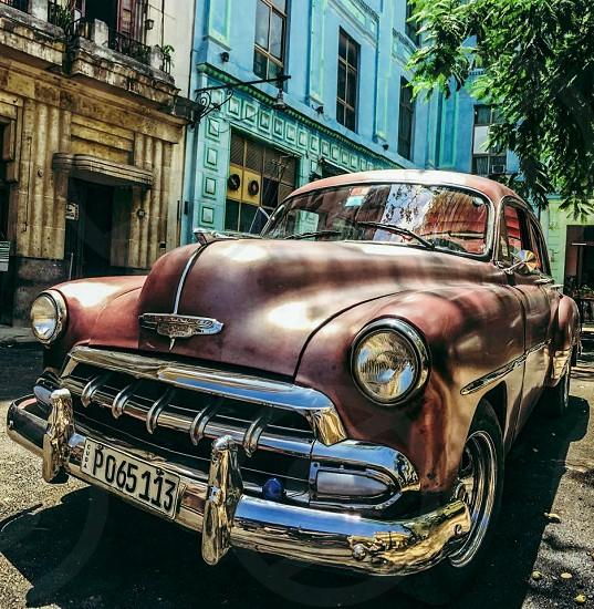 Outdoor day horizontal colour bright vibrant vivid metallic metal chrome car auto automobile 1950s vintage Havana Cuba Caribbean travel tourist photo
