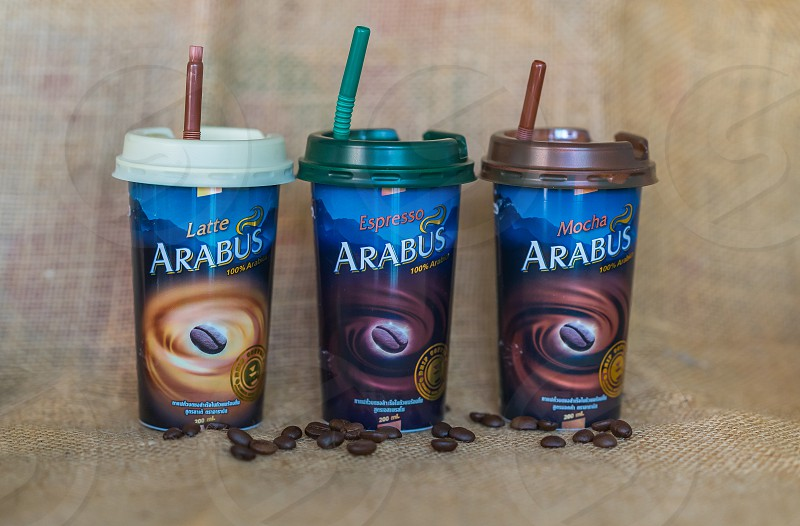 Arabus coffee cups in Thailand. photo