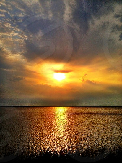 The I have God sunset reflection Lake ocean shoreline sailing inspirational vibrant vivid photo