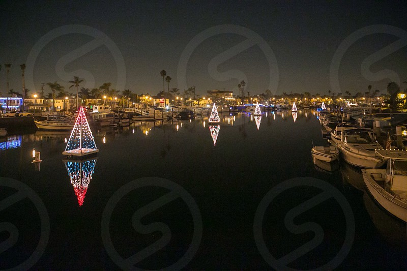 Long Beach inlet at Christmas time   photo
