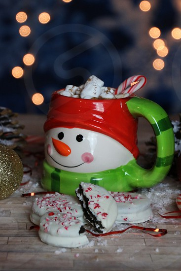 holidays cookies sweet winter lights cocoa peppermint candy photo
