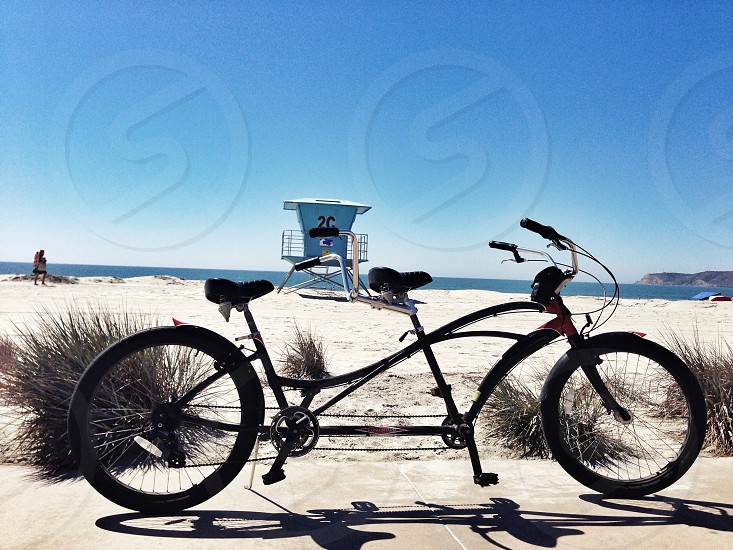Built for 2. Why go alone fat tire tandem Catalina California sand beach ocean freedom photo
