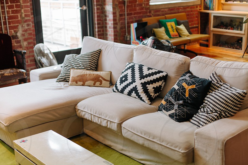 beige fabric couch photo