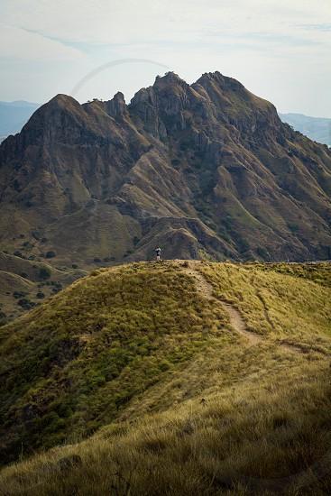 Komodo Island; Padar; Indonesia; Tiny Person; Distance; Perspective; vast; greenery; nature photo