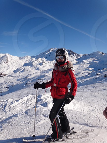 Skiing skier mountains snow photo
