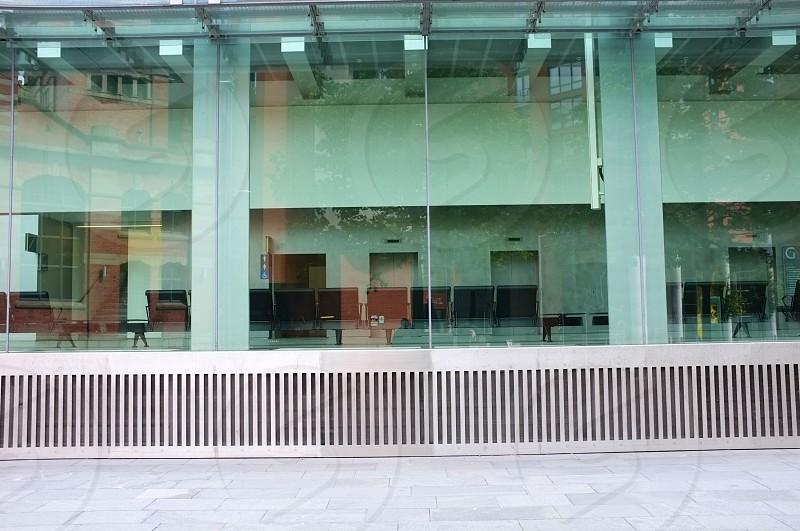 Through the reception glass windows. photo