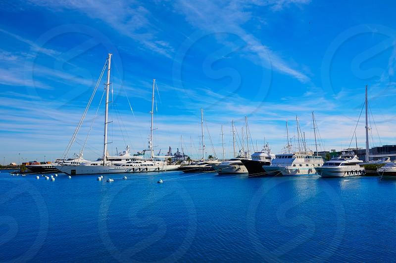 Puerto de Valencia marina port of Spain at Mediterranean sea photo
