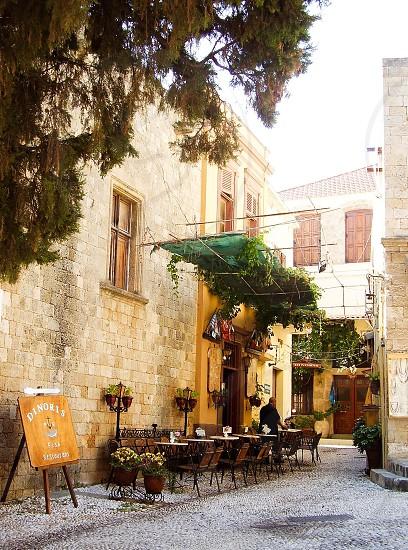 Greece Greek island Rhodes Rhodes town restaurant  street street view  picturesquely     photo