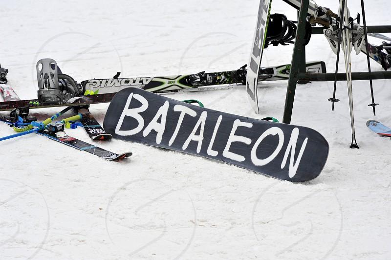Snow ski at the slopes photo