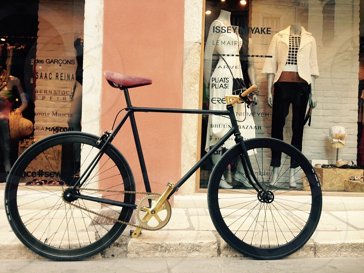 Corfu pavement shop Greece street fixie bike bicycle perfect photo