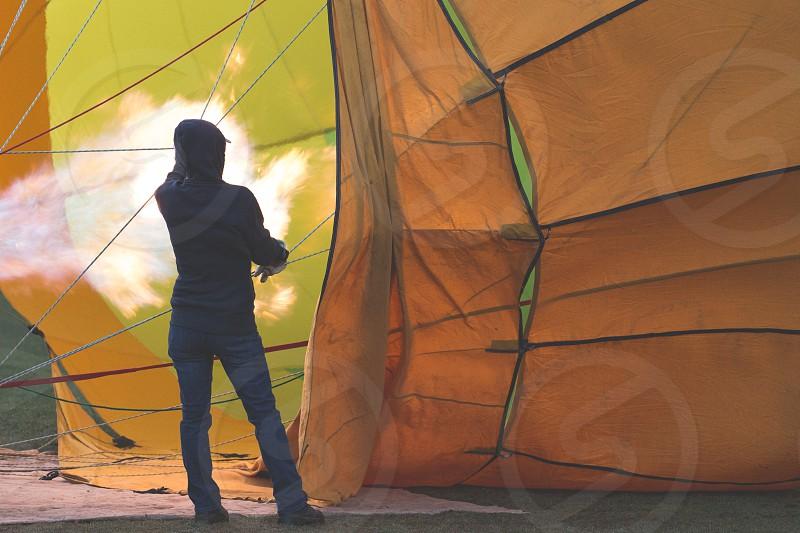 Filling a hot air balloon photo