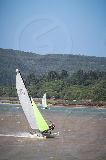 2 people windsurfing on sea near trees during daytime photo