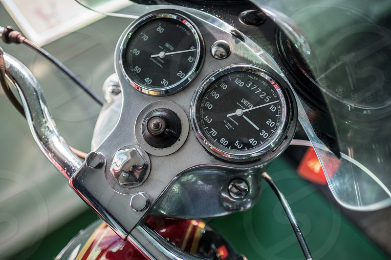 Dials on a Royal Enfield Motorcycle in the Motor Museum at Bourton-on-the-Water photo