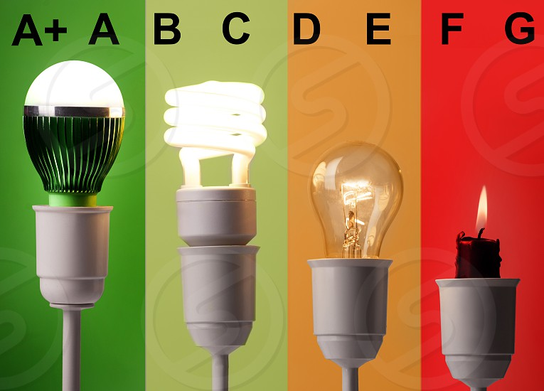positioning of various lightings by energy savings and by colors photo